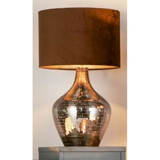 Unique Smoked Mosaic Table Lamp With Brown Suede Shade