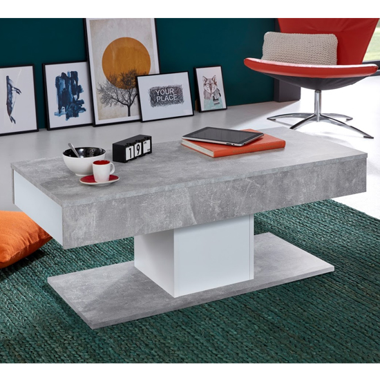 Universal Storage Coffee Table In White And Stone Cement Grey