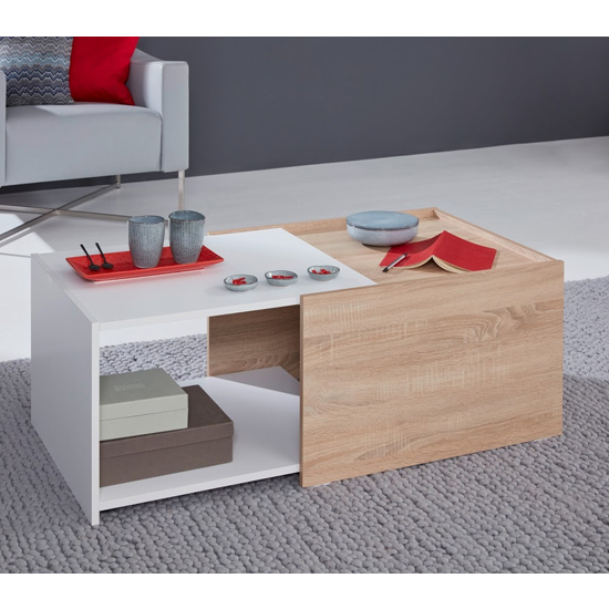 Universal Storage Coffee Table In White And Sagerau Light Oak