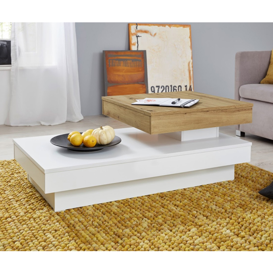 Universal Rolling Coffee Table In Artisan Oak And White