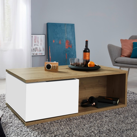 Universal Wooden Coffee Table In Artisan Oak And White