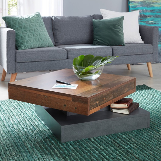 Universal Wooden Coffee Table In Old Wood And Matera_2