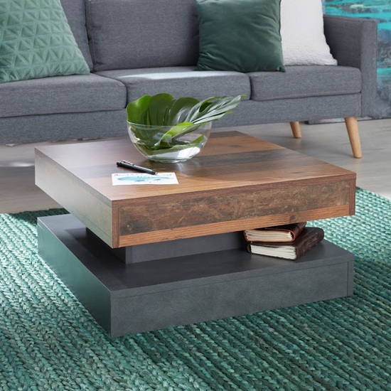 Universal Wooden Coffee Table In Old Wood And Matera_1