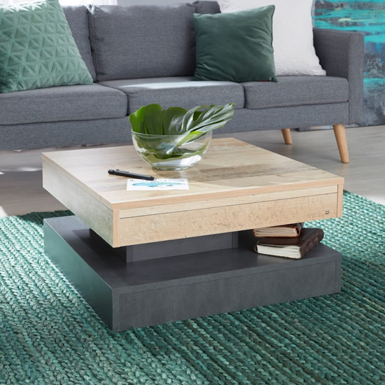 Universal Wooden Coffee Table In Pale Wood And Matera