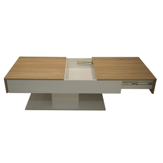 Universal Storage Coffee Table In Sagerau Light Oak And White