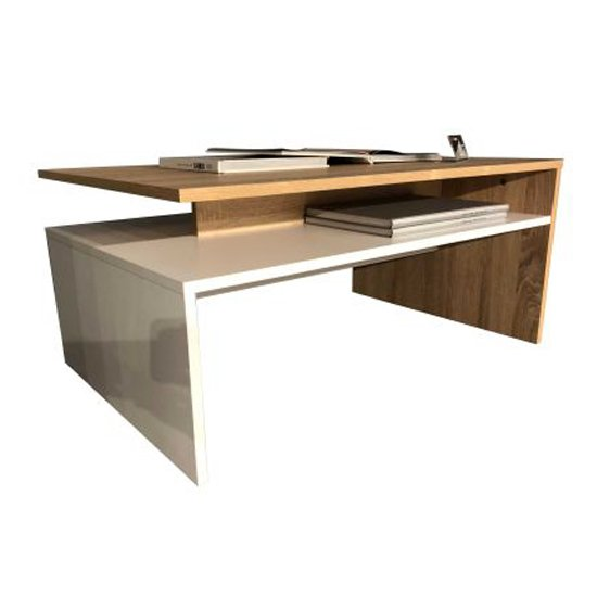Universal Coffee Table In Sagerau Oak And White High Gloss