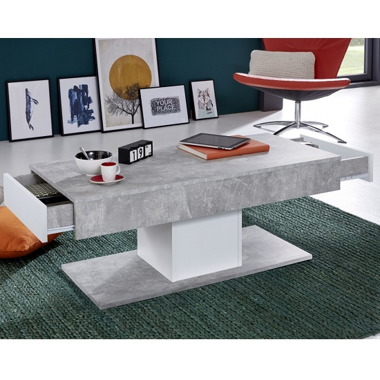 Universal Wooden Coffee Table In Stone Grey With Storage