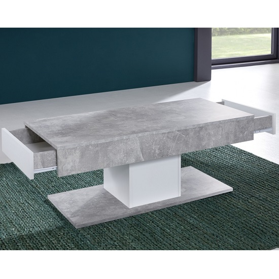 Universal Wooden Coffee Table In Stone Grey With Storage_2