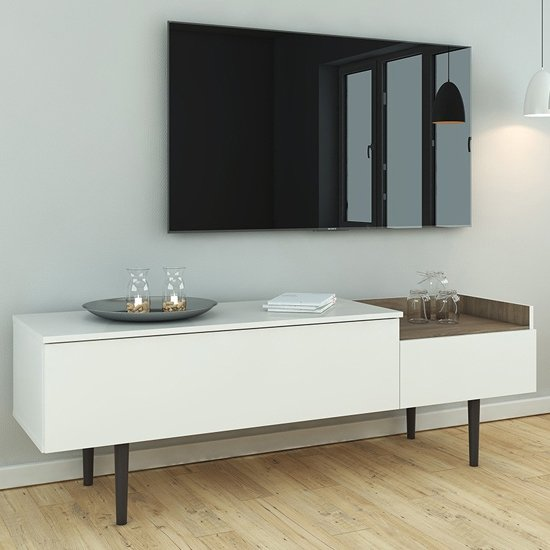 Unka Wooden 2 Drawers Sideboard In Walnut And White