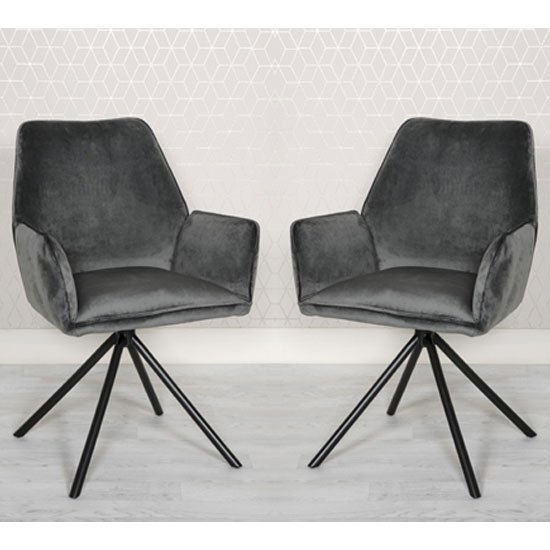 Uno Grey Velvet Fabric Dining Chairs In A Pair
