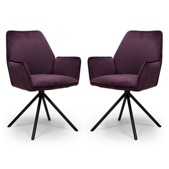 Uno Mulberry Velvet Fabric Dining Chairs In A Pair