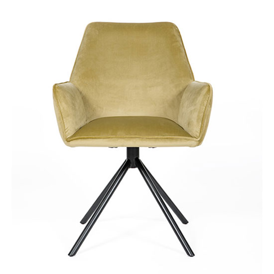 Uno Velvet Fabric Dining Chair In Citron