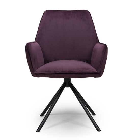 Uno Velvet Fabric Dining Chair In Mulberry