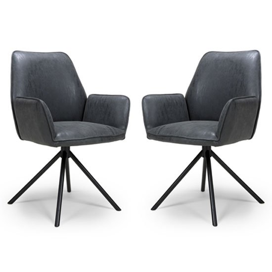 Uno Wax Grey PU Fabric Dining Chairs In A Pair