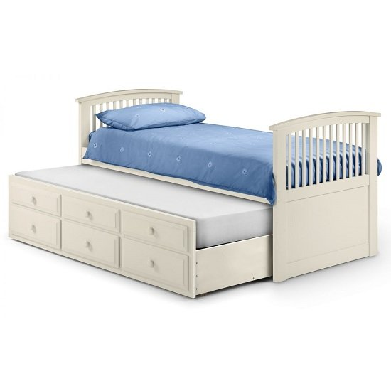 Uplander Wooden Single Bed In Stone White Lacquered