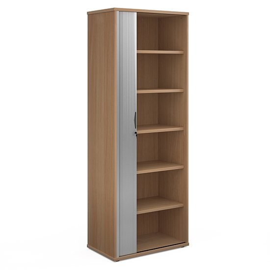 Upton Wooden 1 Door Tambour Storage Cabinet In Beech With 5 Shelves