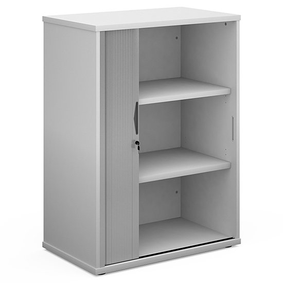 Upton Wooden 1 Door Tambour Storage Cabinet In White With 2 Shelves
