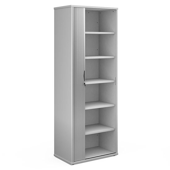 Upton Wooden 1 Door Tambour Storage Cabinet In White With 5 Shelves