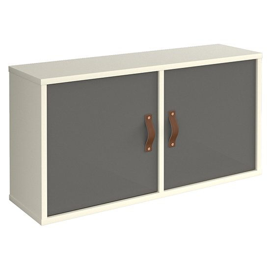 Upton Wooden Box Storage Unit In White With 2 Onyx Grey Doors