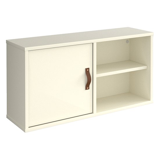 View Upton box storage unit in white with white door and shelf