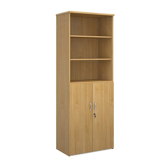 Upton Wooden Combination Storage Cabinet In Oak With 5 Shelves