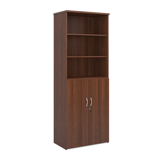 Upton Wooden Combination Storage Cabinet In Walnut With 5 Shelves