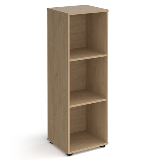 Upton High Shelving Unit In Kendal Oak With 3 Shelves And Glides