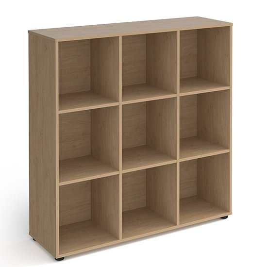 Upton High Shelving Unit In Kendal Oak With 9 Shelves And Glides