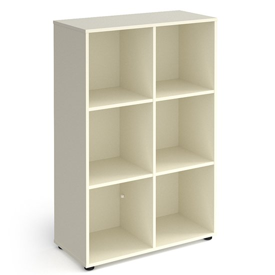 Upton High Shelving Unit In White With 6 Shelves And Glides