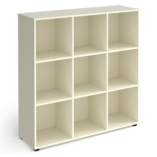 Upton High Shelving Unit In White With 9 Shelves And Glides