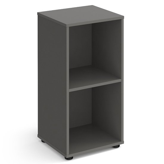Upton Low Shelving Unit In Onyx Grey With 2 Shelves And Glides