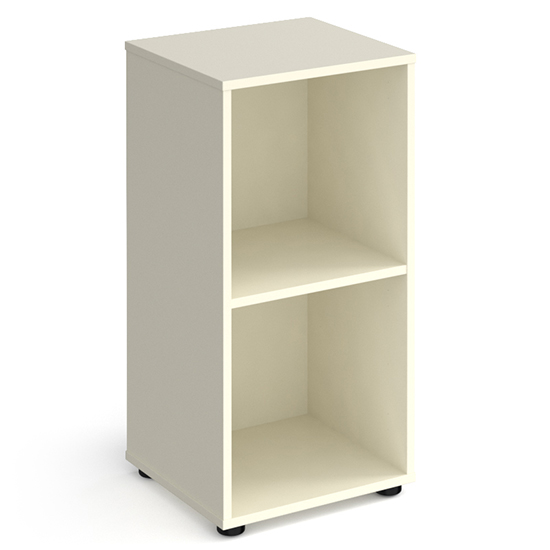 Upton Low Shelving Unit In White With 2 Shelves And Glides