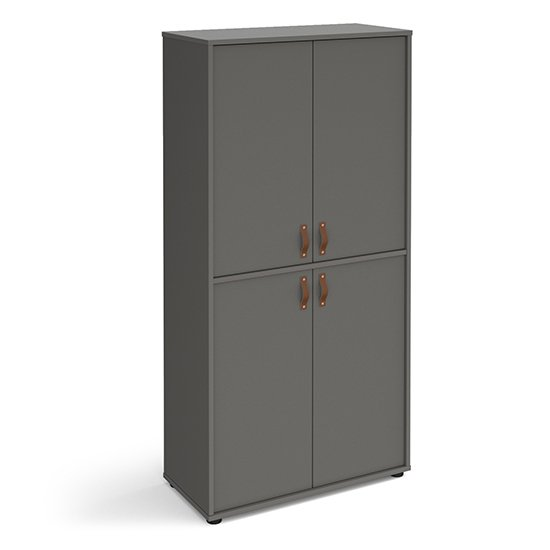 Upton Wooden Storage Cabinet In Onyx Grey And 4 Onyx Grey Doors