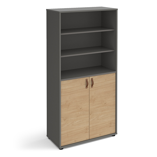 Upton Wooden Storage Cabinet In Onyx Grey With Kendal Oak Doors