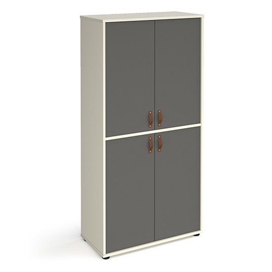 Upton Wooden Storage Cabinet In White And 4 Onyx Grey Doors