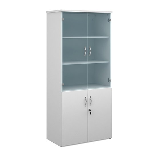Upton Wooden Storage Cabinet In White With 4 Doors And 4 Shelves