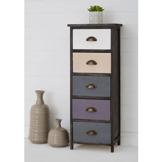 Riley Tall Chest Of Drawers With Multicolours Drawers