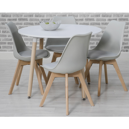 Regis Round Dining Set In White With 4 Grey Chairs
