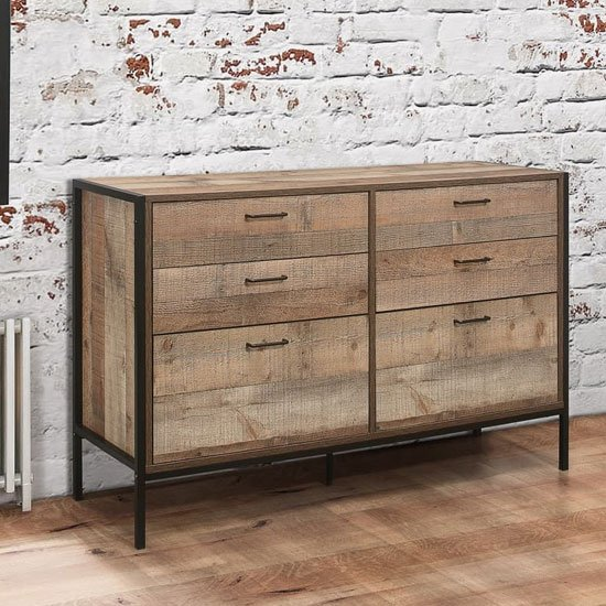 Urban Wooden Chest Of Drawers In Rustic With 6 Drawers