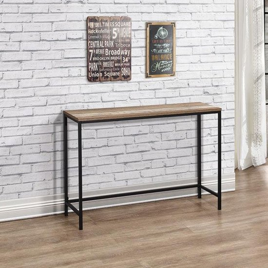 Urban Wooden Console Table In Rustic With Black Metal Frame