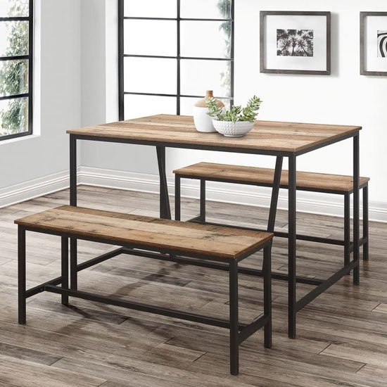 Urban Wooden Dining Table In Rustic With 2 Benches