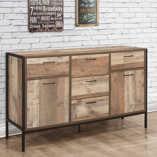 Urban Wooden Large Sideboard In Rustic