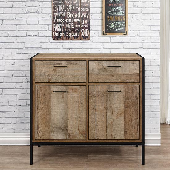 Urban Wooden Sideboard In Rustic With 2 Doors And 2 Drawers