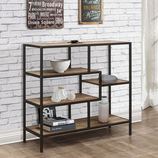 Urban Wooden Small Shelving Unit In Rustic