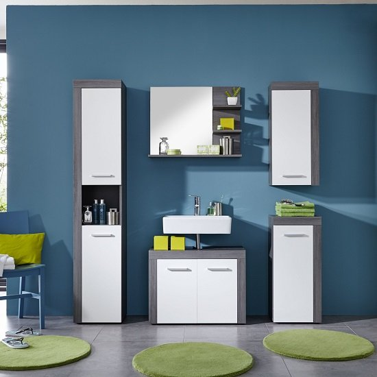 Urban Bathroom Furniture Set In Sardegna Smoke Silver And White_2