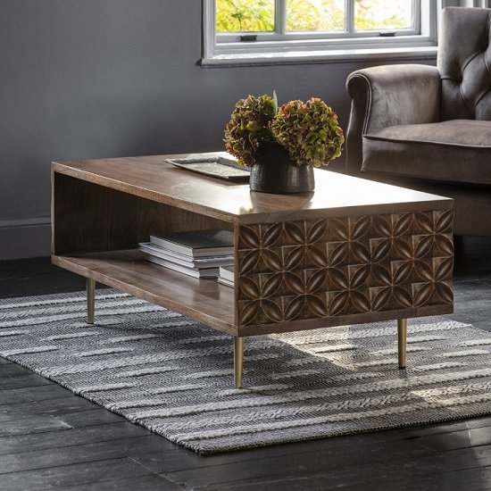 Urbino Coffee Table In Nutty Brown With Brushed Bass Legs
