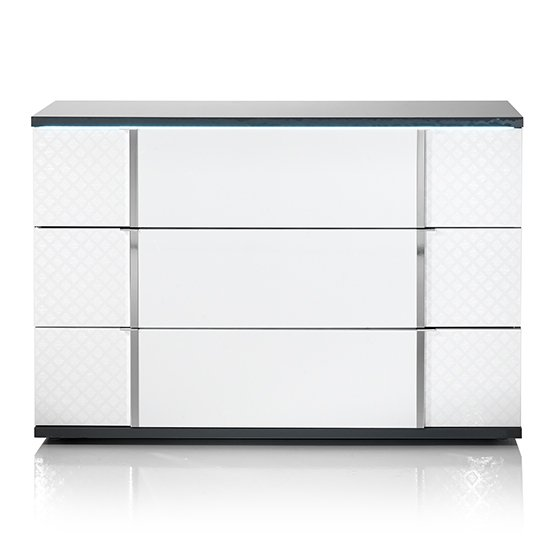 Urbino LED Chest Of Drawers In Gray And White With 3 Drawers_2