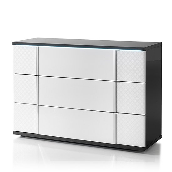 Urbino LED Chest Of Drawers In Gray And White With 3 Drawers_3