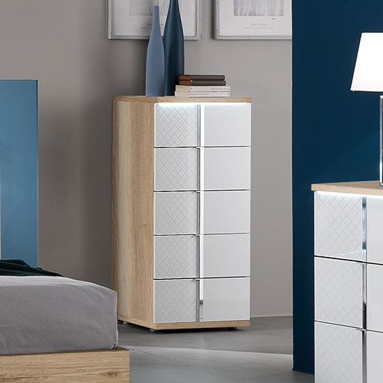 Urbino LED Chest Of Drawers In Oak And White With 5 Drawers