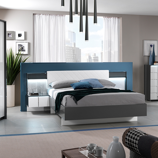 Urbino LED King Size Bed In Grey And White With 2 Nightstands
